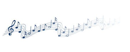 Blue musical notes melody on white background Vectores