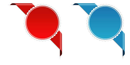 Red and blue corner ribbon banner with pace for your text 向量圖像