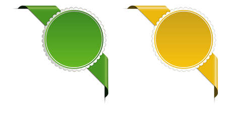 Green and yellow corner ribbon banner with pace for your text 向量圖像