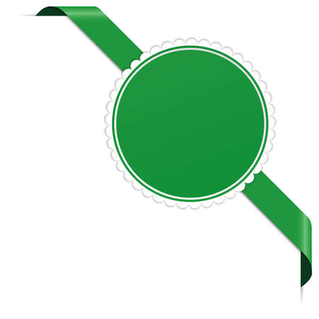 Green corner ribbon banner with pace for your text