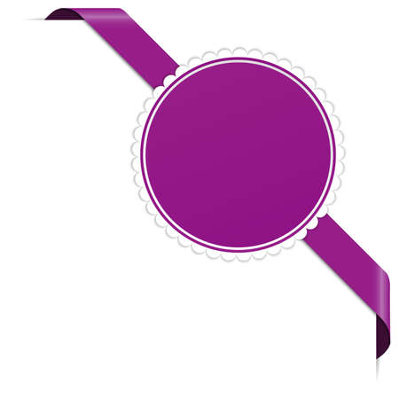 Purple corner ribbon banner with pace for your text