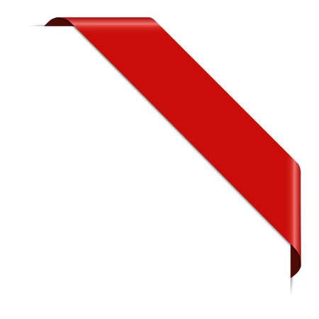 Red corner ribbon banner with pace for your text