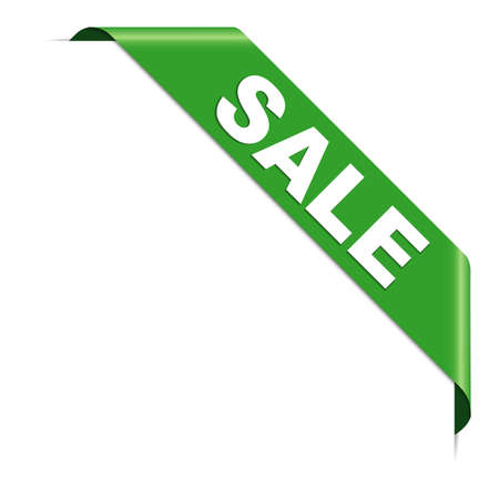 SALE - green corner ribbon banner with pace for your text 向量圖像