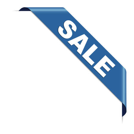 SALE - blue corner ribbon banner with pace for your text 向量圖像