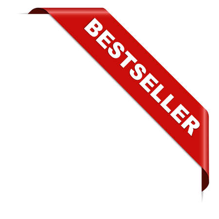BESTSELLER - red corner ribbon banner with pace for your text