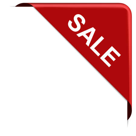 SALE - red corner ribbon banner with pace for your text