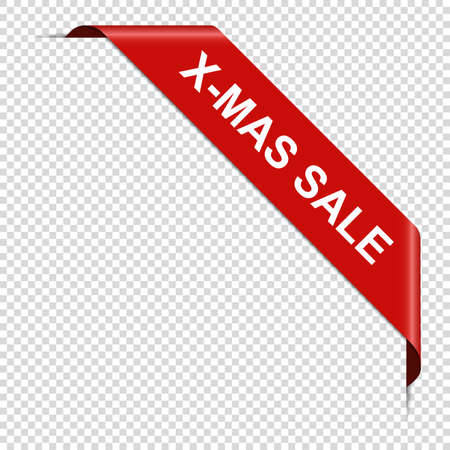 X-MAS SALE - red corner ribbon banner isolated on transparent background 일러스트
