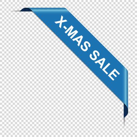 X-MAS SALE - blue corner ribbon banner isolated on transparent background