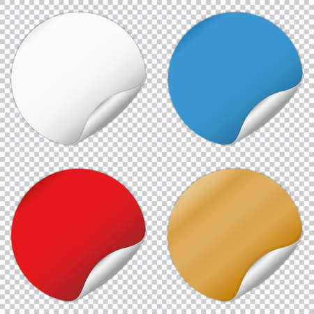 Round note papers set on transparent background