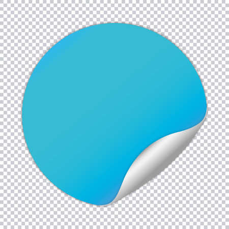 Blue round note paper on transparent background
