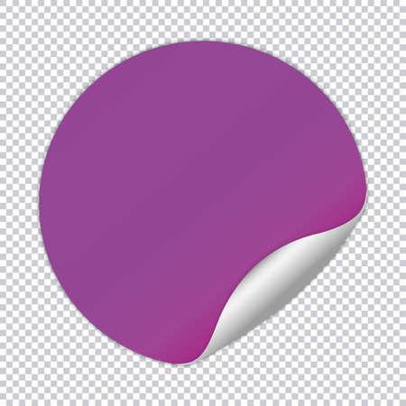 Purple round note paper on transparent background