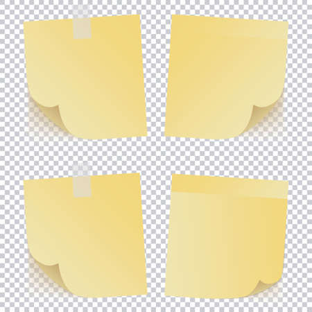 Yellow note paper on transparent background
