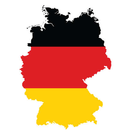 Vector political map of Germany with flag isolated on white background