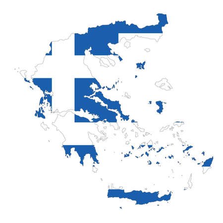 Vector political map of Greece with flag isolated on white background Çizim