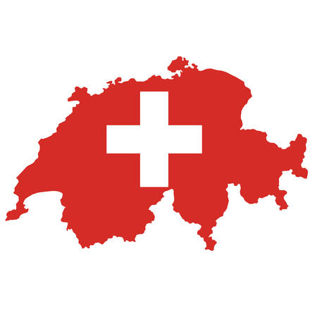 Political map of Switzerland with flag isolated on white background
