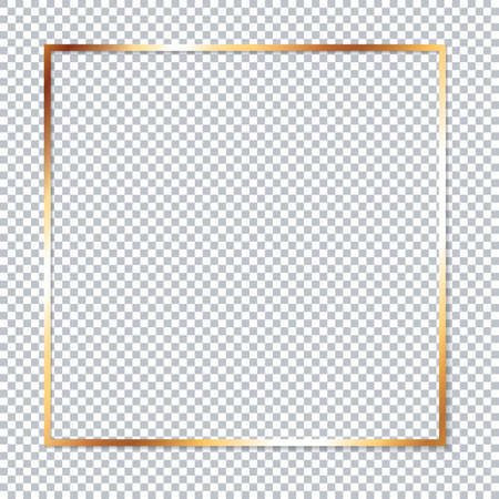 Gold frame on transparent background