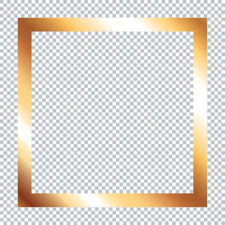 Gold frame on transparent background
