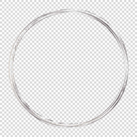 Silver round frame on transparent background