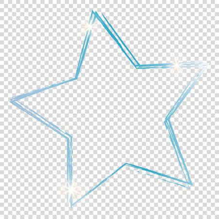 Blue star frame on transparent background