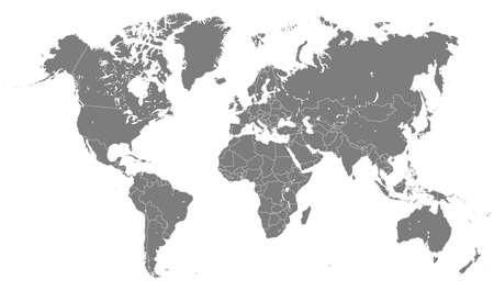 Weltkartensilhouette auf weißem Hintergrund Vektorgrafik