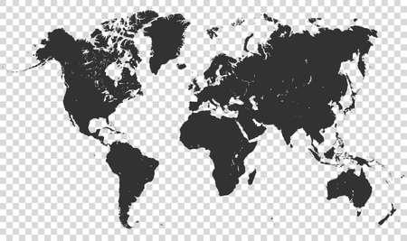 Mappa del mondo su sfondo trasparente