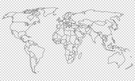 Zarys mapy politycznej świata z granicami na przezroczystym tle