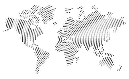 Mapa del mundo gris sobre fondo blanco.