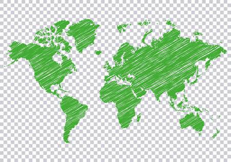 Green world map on transparent background Ilustracje wektorowe