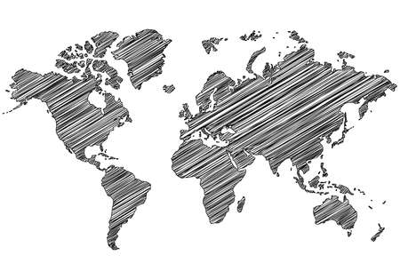 Scribble world map on white background