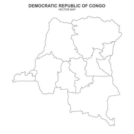 Political map of Democratic Republic Congo on white background