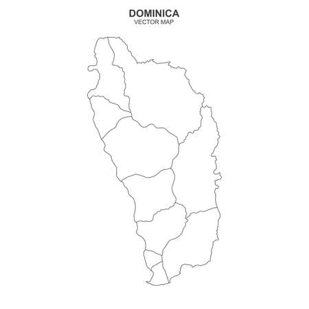 Political map of Dominica on white background