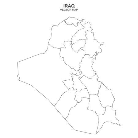 Political map of Iraq on white background