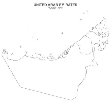 Political map of United Arab Emirates isolated on white background