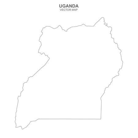 Political map of Uganda isolated on white background