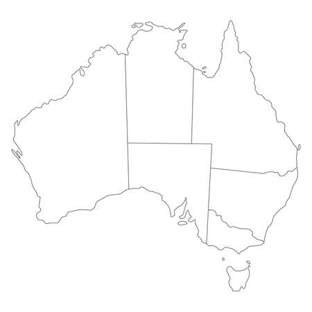 Vector map of australia with borders of states