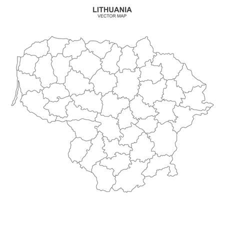 Political map of Lithuania isolated on white background