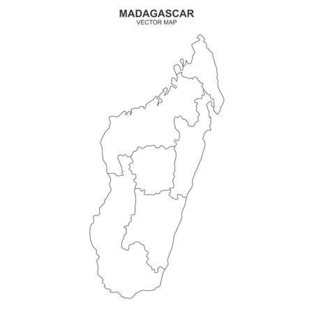 Political map of Madagascar isolated on white background