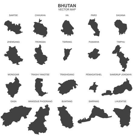 Mapa del vector de Bután de fondo blanco