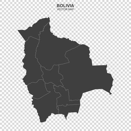 Vector map of Bolivia isolated on transparent background Ilustração