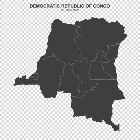 Political map of Democratic Republic Congo on transparent background Ilustrace