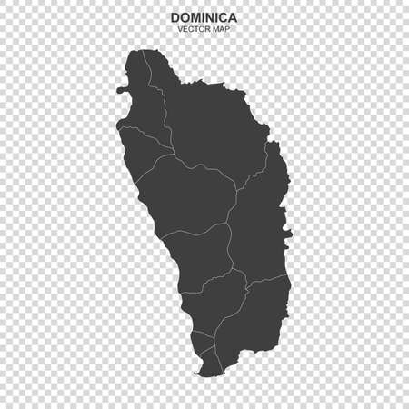 Political map of Dominica on transparent background