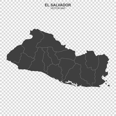 Mapa político de El Salvador sobre fondo transparente Ilustración de vector