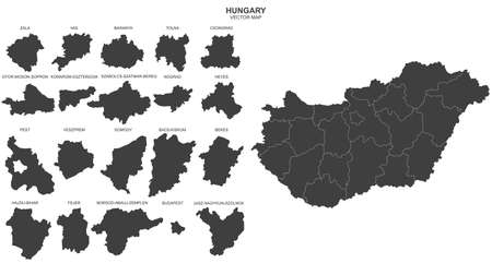 Vector political map of Hungary on white background