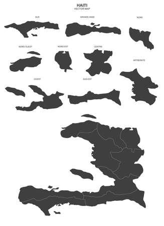 Political map of Haiti on white background