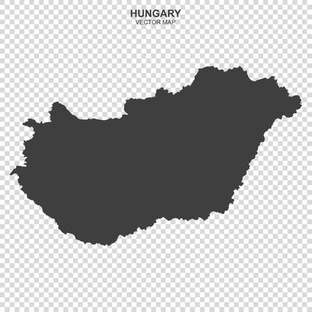 Vector map of Hungary on transparent background