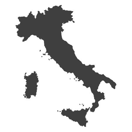 Vector political map of Italy with borders of regions on white background