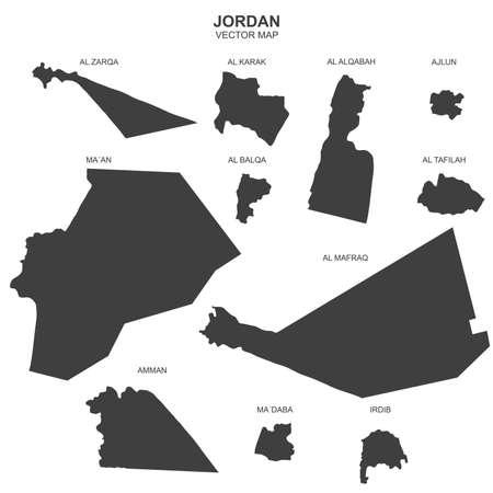 Political map of Jordan isolated on white background Vecteurs