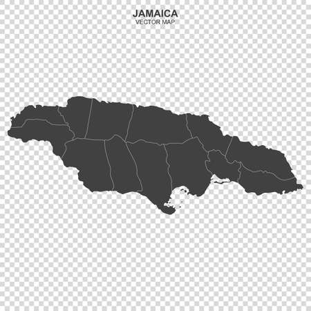 Political map of Jamaica isolated on transparent background