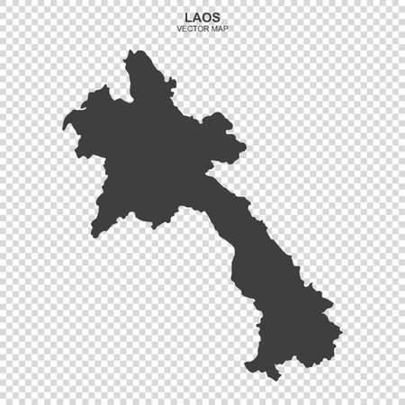 Political map of Laos isolated on transparent background