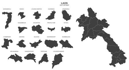 Political map of Laos isolated on white background